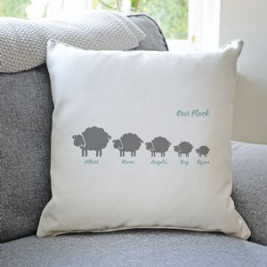 Personalised Flock Of Sheep Family Cushion